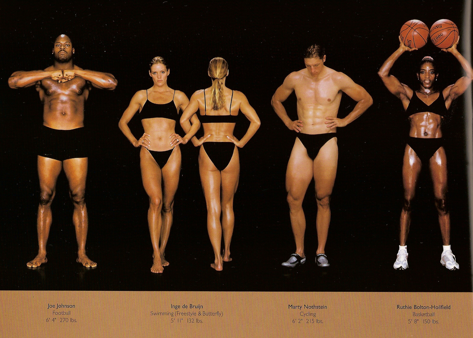 Howard Schatz / слева направо: американский футбол, плавание (фристайл и баттерфляй), велогонки, баскетбол.