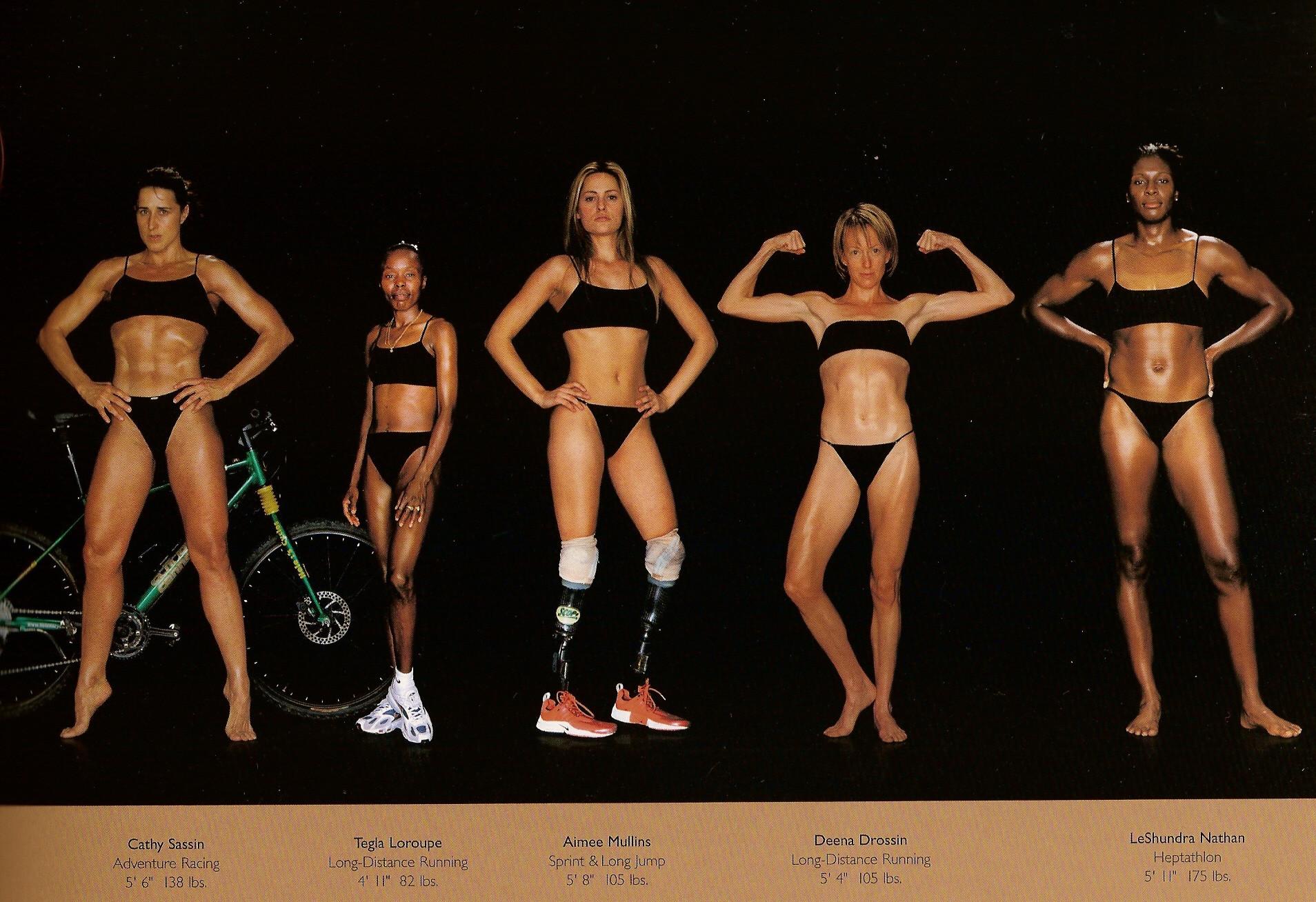 Howard Schatz / Слева направо: приключенческие велогонки, бег на большие дистанции, спринт и прыжки в длину, бег на большие дистанции, гептатлон.