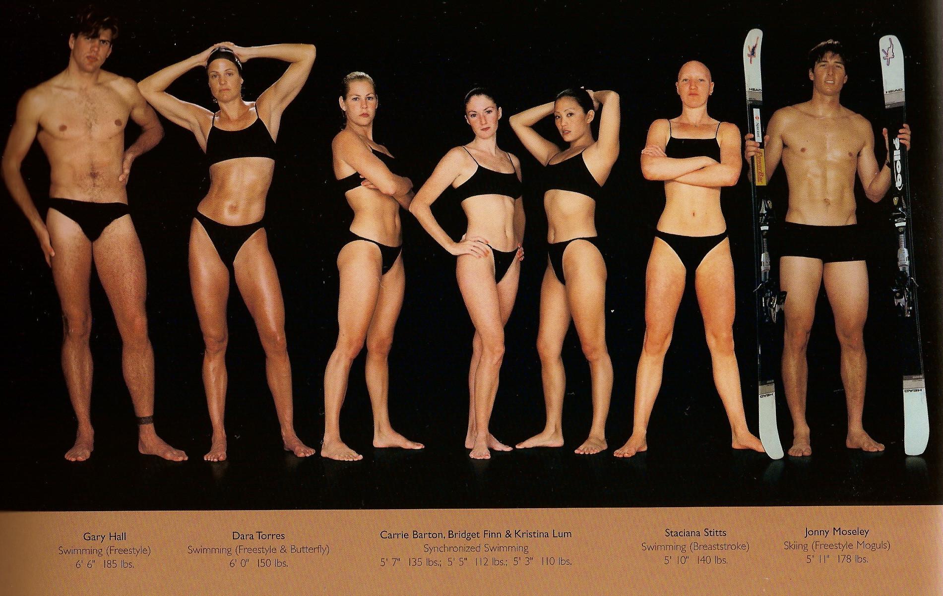 Howard Schatz / слева направо: плавание (фристайл), плавание (баттерфляй), синхронное плавание (три девушки), плавание (брасс), лыжи (фристайл, могул).