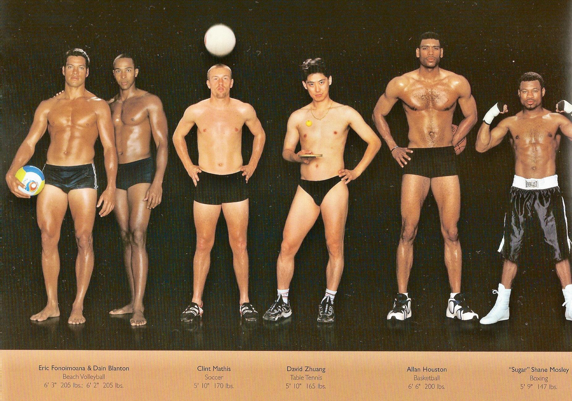 Howard Schatz / слева направо: пляжный волейбол, футбол, настольный теннис, баскетбол, бокс.