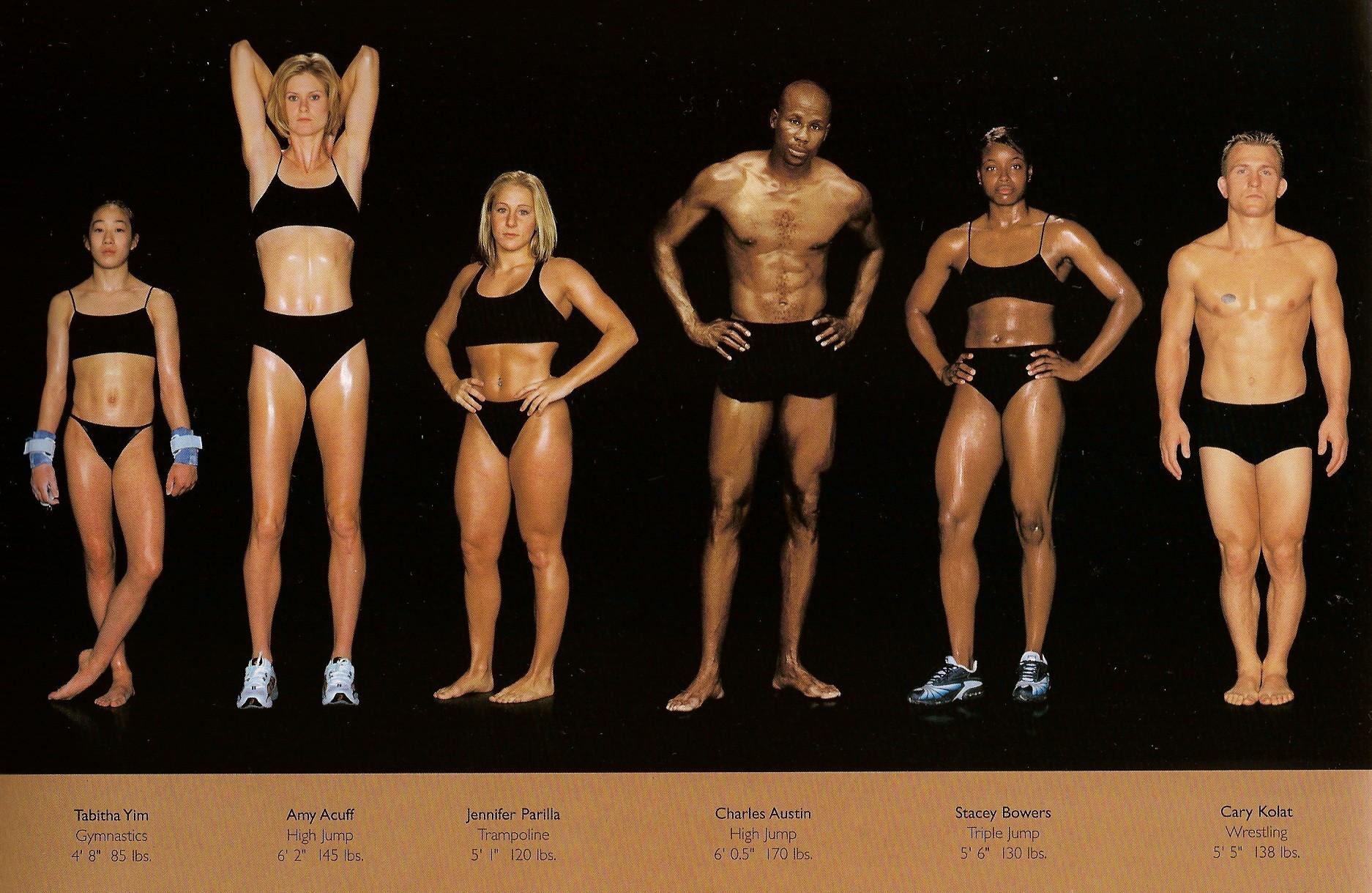 Howard Schatz / слева направо: гимнастика, прыжки в высоту, батут, прыжки в высоту, тройной прыжок, реслинг.