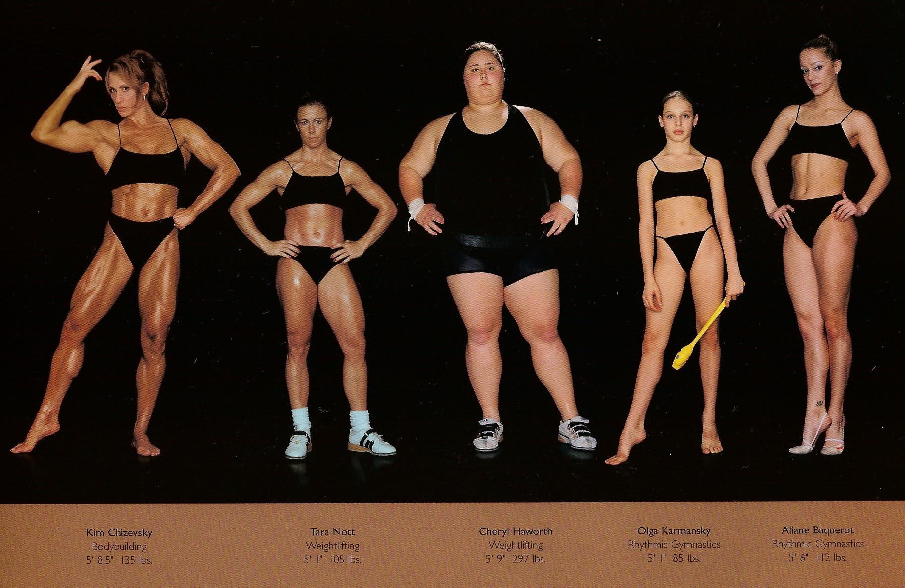 Howard Schatz / слева направо: бодибилдинг, вейтлифтинг, тоже вейтлифтинг, ритмическая гимнастика, тоже ритмическая гимнастика.