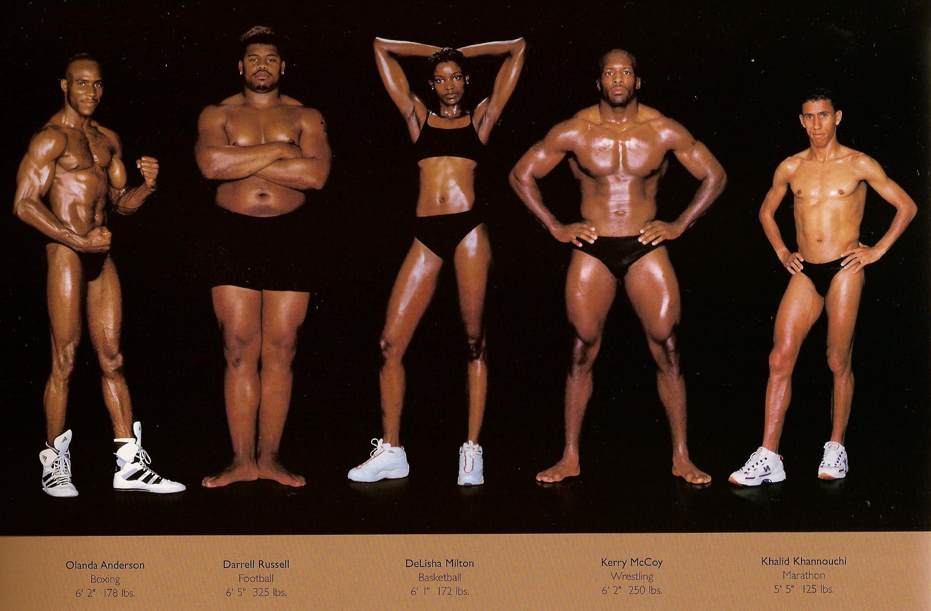 Howard Schatz / слева направо: бокс, футбол, баскетбол, реслинг, марафоны.