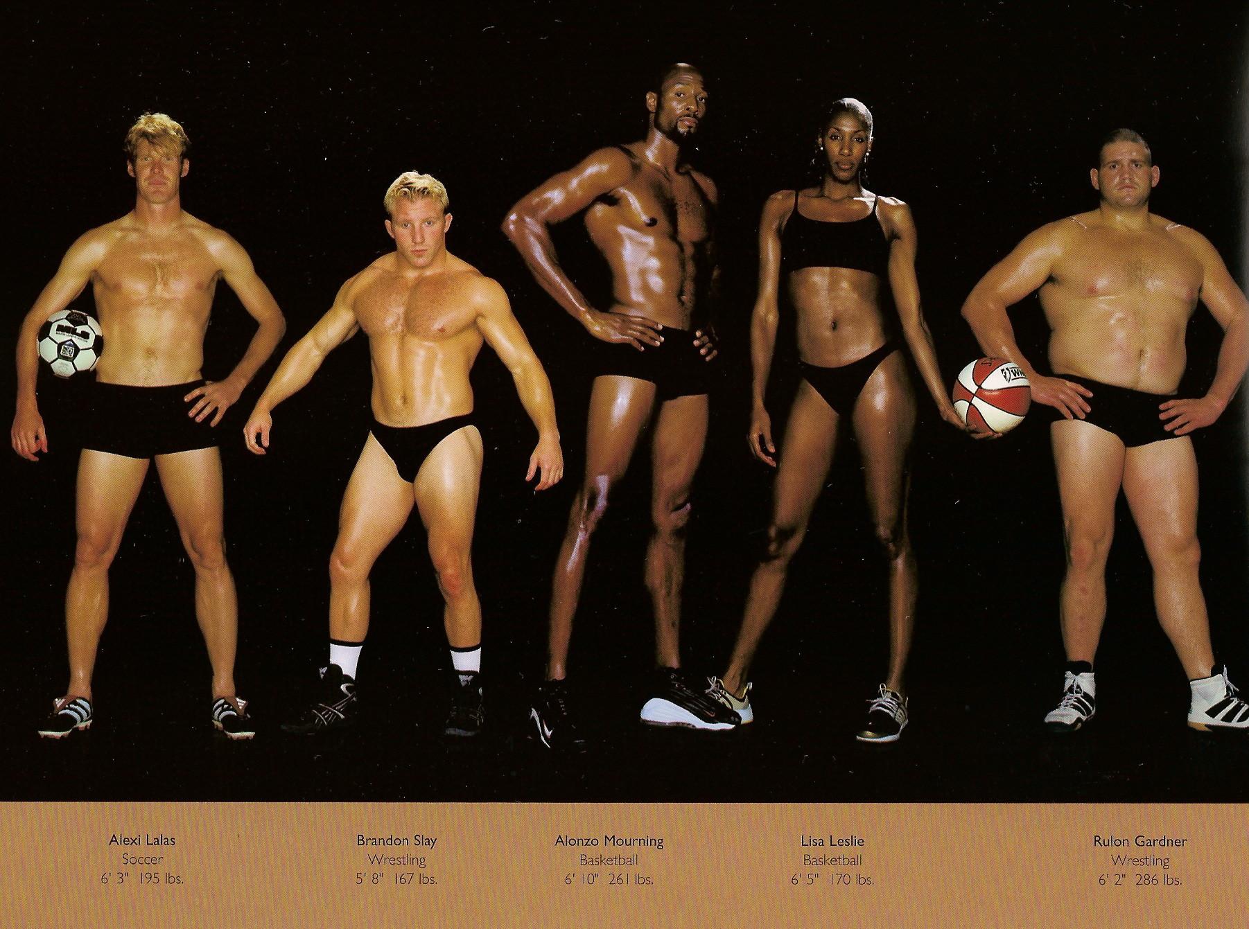 Howard Schatz / слева направо: футбол, реслинг, баскетбол, тоже баскетбол, реслинг.