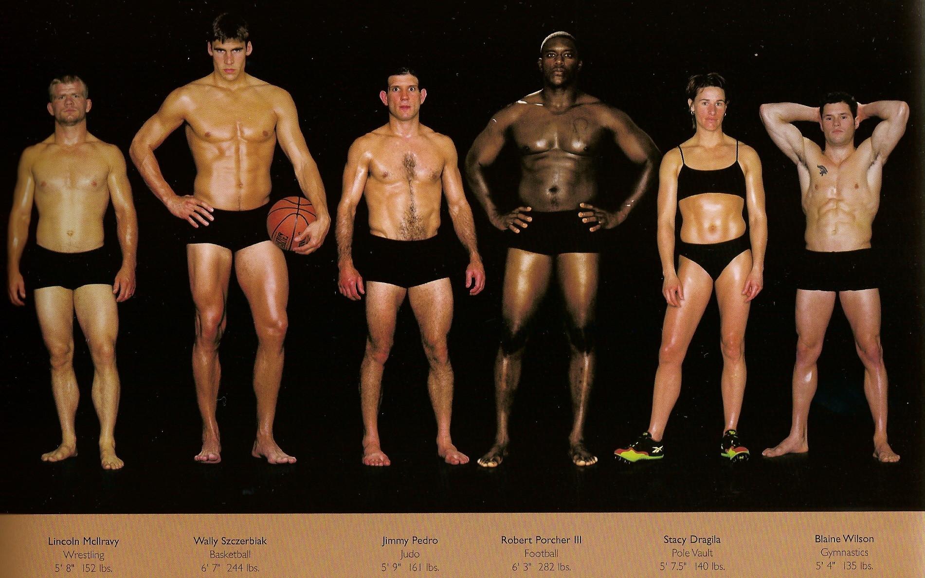 Howard Schatz / слева направо:  реслинг, баскетбол, дзюдо, футбол, прыжки с шестом, гимнастика.