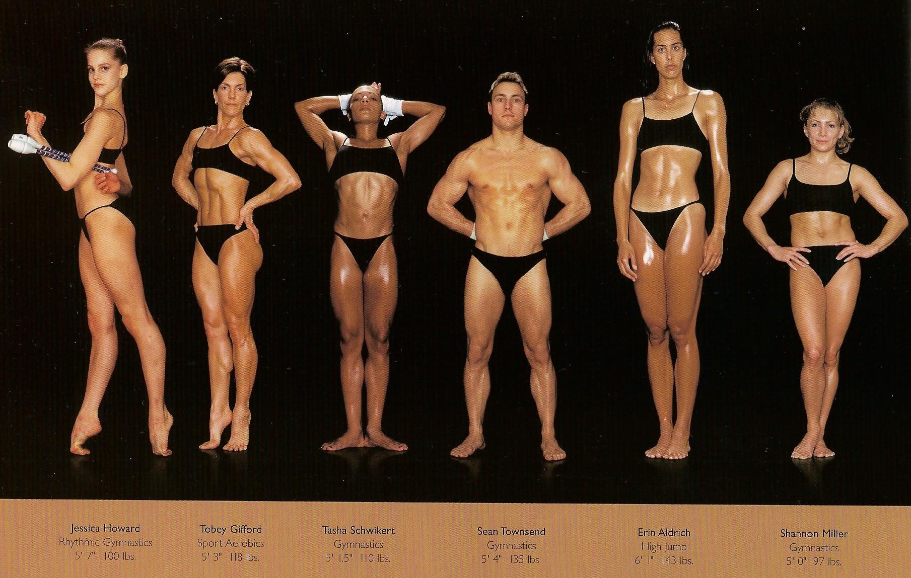 Howard Schatz / слева направо: ритмическая гимнастика, аэробика, гимнастика, тоже гимнастика, прыжки в высоту, гимнастика.